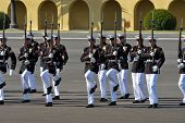 SAN DIEGO, CALIFORNIA - MARCH 12: The United States Marine Corps Silent Drill Platoon performs for t