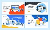 Set Of Flat Design Web Page Templates Of Graphic Design, Website Design And Development, Social Medi poster