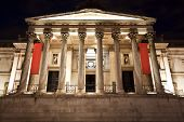 stock photo of neo-classic  - National Gallery museum facade at night - JPG