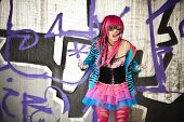 stock photo of lolita  - Blinded asian goth lolita shouting desperately - JPG
