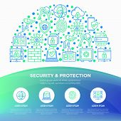 Security And Protection Concept In Half Circle With Thin Line Icons: Mobile Security, Fingerprint, F poster