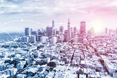 Modern San Francisco Urban Skyline With High-speed Data And Internet Communication Network. Concept  poster
