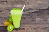 Kiwi Yogurt Fruit Juice Smoothie Green Colorful Fruit Juice Milkshake Blend Beverage Healthy High Pr poster
