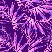 Tropical Seamless Pattern. Watercolor Chaotic Palm Leaves, Japanese Bamboo. Purple Exotic Swimwear D poster