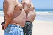 picture of fat-guts  - Close up of two fat men showing their bellies on the beach - JPG