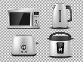 Kitchen Appliances Template. Realistic Silver Microwave, Kettle, Oven, Juicer, Toaster, Multicooker  poster