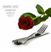 pic of red rose  - a Beautiful red  rose with a setting with knife and fork on a pure white background with space for text - JPG