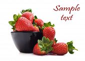 foto of healthy food  - Healthy fresh strawberries and a bowl on a pure white background with space for text - JPG