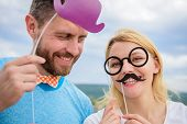 Add Some Fun. Making Funny Photos Birthday Party. Just For Fun. Humor And Laugh Concept. Couple Posi poster