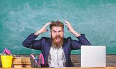 What Stupid Thought. Man Bearded Teacher Aggressive Expression Sit Classroom Chalkboard Background.  poster