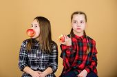 Eat Fruit To Be Cute. Small Girls Eating Apples Together. Little Girls Enjoy Fresh Fruits. Cute Girl poster