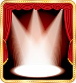 stock photo of curtains stage  - vector empty stage with red curtain and three spots - JPG