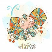 Childrens Horoscope Icon. Zodiac For Kids. Aries Sign . Vector. Astrological Symbol As Cartoon Chara poster