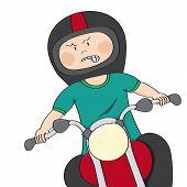 Angry Mag Biker Riding A Bike - Original Hand Drawn Funny Cartoon Illustration poster