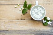 White Flowers Jasmine Flora Local Of Asia Float On Water In Cup Arrangement Flat Lay Style On Backgr poster