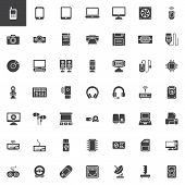 Computer Devices, Hardware Vector Icons Set, Modern Solid Symbol Collection, Filled Style Pictogram  poster