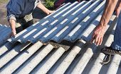 Risks Of Asbestos Roofs, Asbestos Roof Removal. Asbestos Removal Roof Works. House With Old, Danger  poster