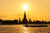 Wat Arun Temple At Sunset In Bangkok Thailand. Wat Arun Is A Buddhist Temple In Bangkok Yai District poster