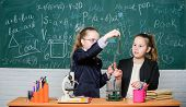 Little Girls Scientist Work With Microscope. Little Girls In School Lab. Science Is Future. Science  poster