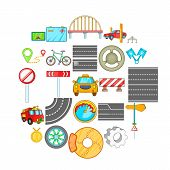 Excellent Road Icons Set. Isometric Set Of 25 Excellent Road Icons For Web Isolated On White Backgro poster