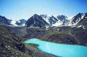 Mountain Lake. Beautiful Scenery. Blue Lake In The Highlands Of Altai. Siberia Russia. Quiet And Pea poster