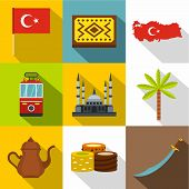 Turkey Travel Icon Set. Flat Style Set Of 9 Turkey Travel Icons For Web Design poster