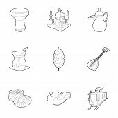 Turkey Celebration Icons Set. Outline Set Of 9 Turkey Celebration Icons For Web Isolated On White Ba poster