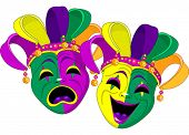 stock photo of tuesday  - Mardi Gras Comedy and  Tragedy Masks - JPG