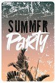 Summer Party Typographic Grunge Vintage Poster Design. Retro Vector Illustration. poster