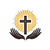 Church Logo. Cross And Hands, Christian Symbol. Vector Illustration poster
