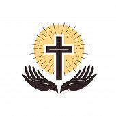 Church Logo. Cross And Hands, Christian Symbol. Vector Illustration poster