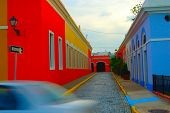 pic of san juan puerto rico  - Puerto Rico Old San Juan Street scene with passing car - JPG