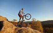 Professional Cyclist Riding On Back Wheel On Trial Bicycle. Sportsman Biker Balancing On The Edge Of poster