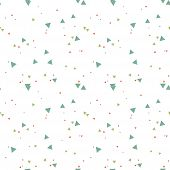 Colorful Messy Seamless Pattern With Triangles On White. Abstract Chaotic Geometric. Triangular Geom poster