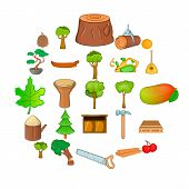 Firewood Icons Set. Cartoon Set Of 25 Firewood Icons For Web Isolated On White Background poster