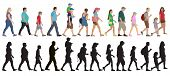 Set Of Walking People (crowd) And Silhouettes, Isolated. Vector Illustration. poster