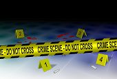 picture of criminology  - A yellow police tape spelling crime scene do not cross with some evidence on a floor - JPG