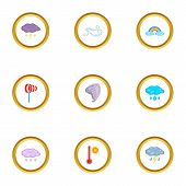 Meteorology Icons Set. Cartoon Set Of 9 Meteorology Icons For Web Isolated On White Background poster