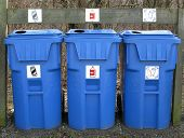 stock photo of stewardship  - Placing large bins for cans plastic - JPG
