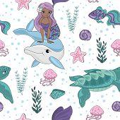 Ocean Tale Mermaid Princess Girl Underwater Tropical Ocean Travel Cruise Seamless Pattern Vector Ill poster