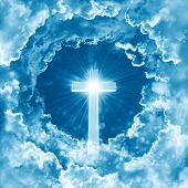 Concept Of Christian Religion Shining Cross On The Background Of Dramatic Cloudy Sky. Sky With Cross poster