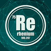 Rhenium Chemical Element. Sign With Atomic Number And Atomic Weight. Chemical Element Of Periodic Ta poster