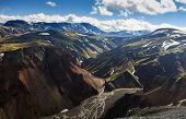 Beautiful Colorful Volcanic Mountains Landmannalaugar In Iceland, Summer Time And Sunny Day. Magnifi poster