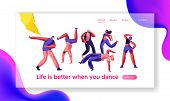 Disco Guy Freestyle Dancing Part Landing Page. Youth People, Boy And Girl Active Motion Together. Ac poster