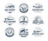 Seafood Logo Set. Sea Creatures, Fishing Or Restaurant Emblems. Retro Style Logo Template. Modern Em poster