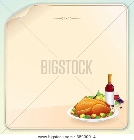 Thanksgiving Greeting Card with Roasted Turkey. Fruits and Wine. Blank Vector Template for your Letter, Poster or Banner.