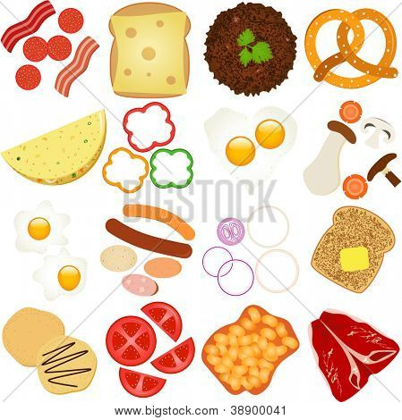 A vector collection of Breakfast and Lunch Ingredients