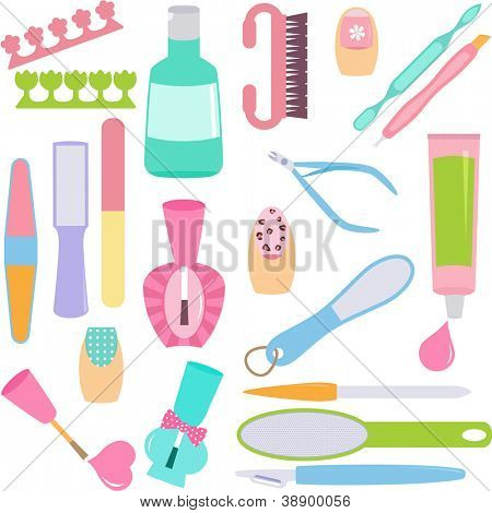 A vector set of tools for Manicure, Pedicure (Hands, Feet Treatment)