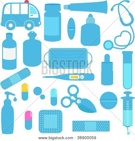 Cute vector icons: Medicines, Pills, Medical Equipments in Blue