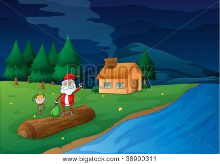 illustration of santa clause and an elve in nature